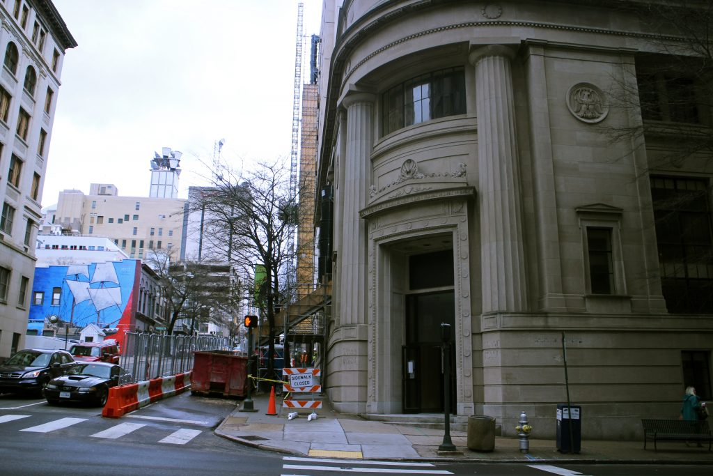 Crews work on the interior of the former Signet Bank building downtown. Photos by Katie Demeria.