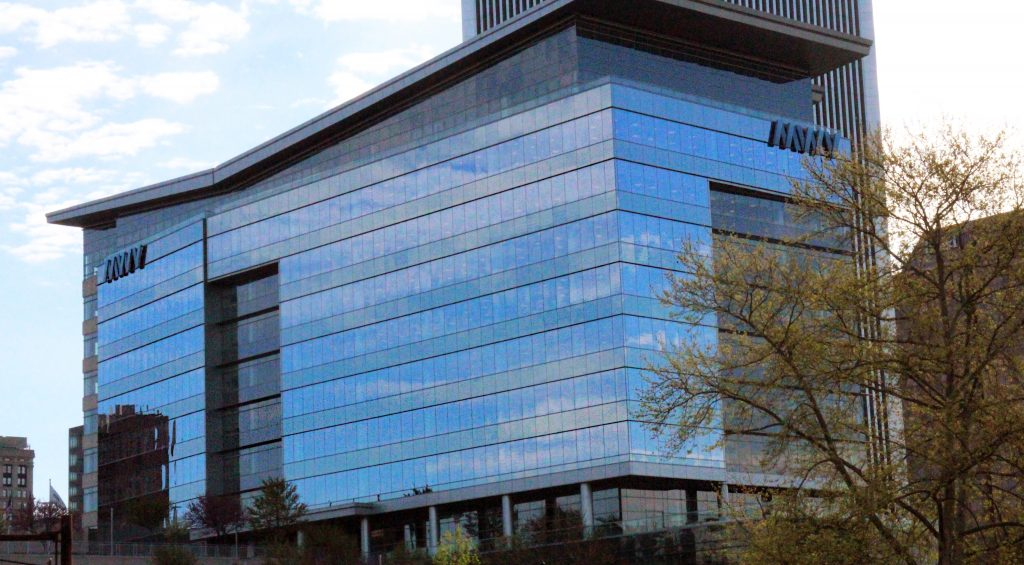 MWV signage has since been removed from the glass-paneled building, which remains the headquarters for WestRock.