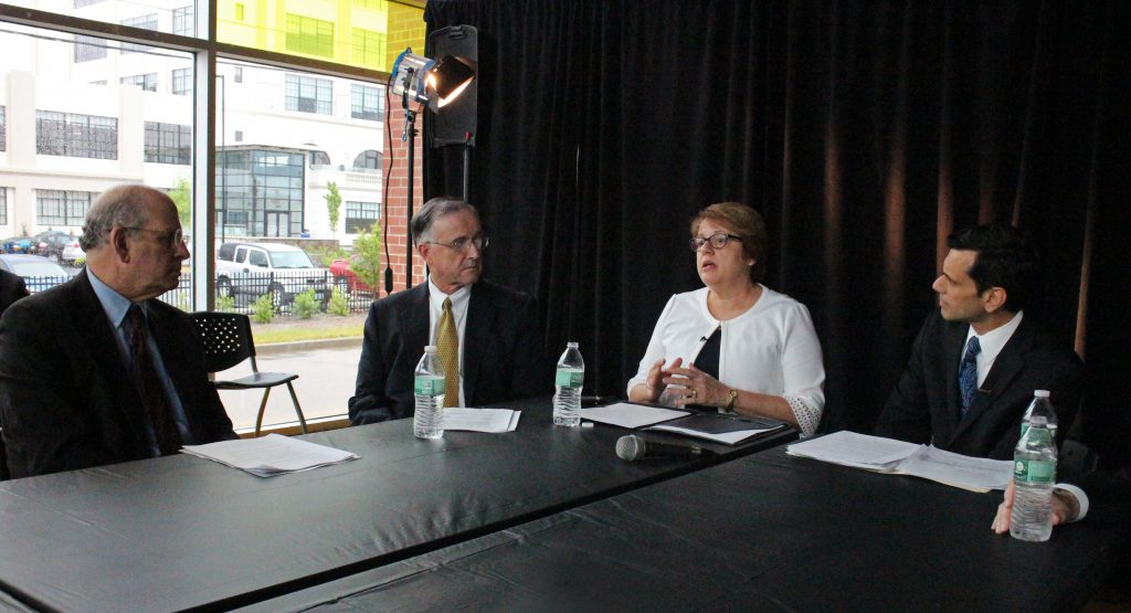 from left to right: Jerry Strauss, Dean of the VCU School of Medicine; John Duval, CEO of VCU Health System; Toni Ardabell, CEO of Bon Secours Richmond Health System; Michael Rao, President of VCU. Photo by Katie Demeria.