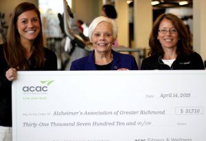 Left to right: Ali Madigen, Assistant General Manager of acac Short Pump, Sherry Peterson, CEO of the Alzheimer's Association Greater Richmond Chapter, and Joyce Steed, General Manager of acac Midlothian.