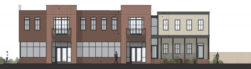 Plans are moving forward on a mixed-use building in Church Hill. Elevation courtesy of UrbanCore Development.
