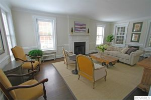 There are five fireplaces throughout the home, including one in the living room.