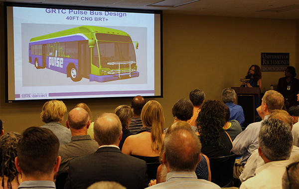 Carrie Rose Pace presents GRTC's new bus line plan at a Monday meeting. Photos by Michael Thompson.