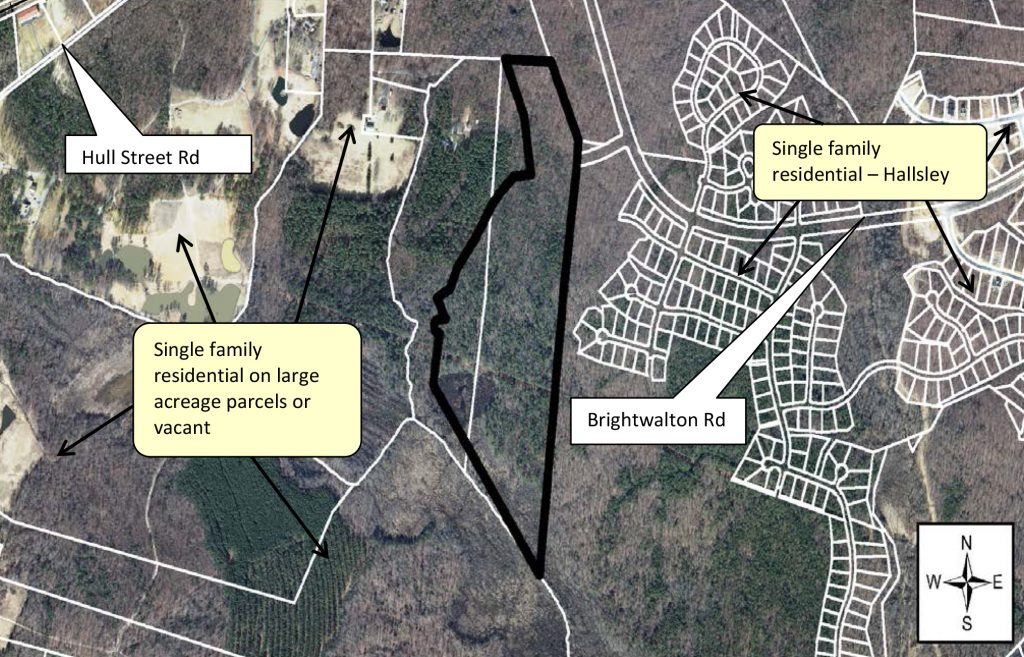 A new stretch of land could soon be added to the Hallsley development. Image via Chesterfield County planning staff report.