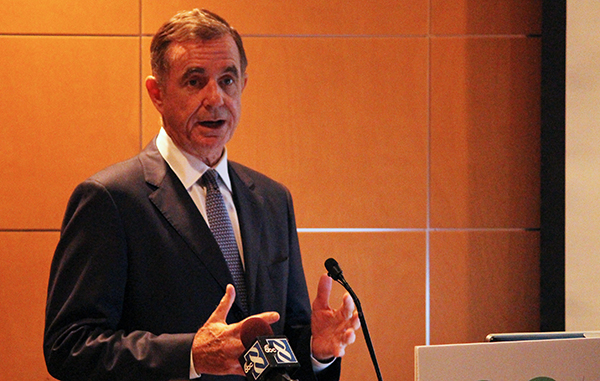 Tom Farrell speaks at Tuesday's announcement event. Photos by Jonathan Spiers.