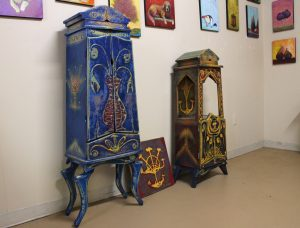 The studio also sells some whimsically painted furniture.