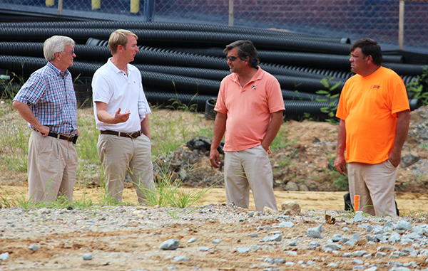 From left: John Nolde Jr., general contractor with The Nolde Co.; developer John Nolde III; and Pat Montgomery and Rob Emerson with Messer Contracting.