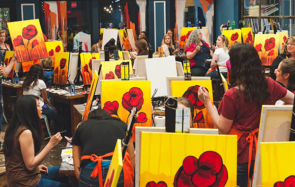 Students paint in a Muse Paintbar class. Photos courtesy of Muse Paintbar.