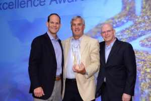 Rick Lingon (center), Vice President, Sales, of Virginia Business Systems, receives the Xerox 2014 Deal of the Year Award from John Corley (left) of Xerox U.S. Channels Group and Kurt Schmelz (right), President, Xerox U.S. Channels Group at the Xerox Partners Awards Ceremony in Miami, FL.