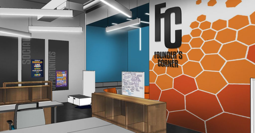 VCU plans to design a shared office space for student entrepreneurs. Renderings courtesy of VCU.