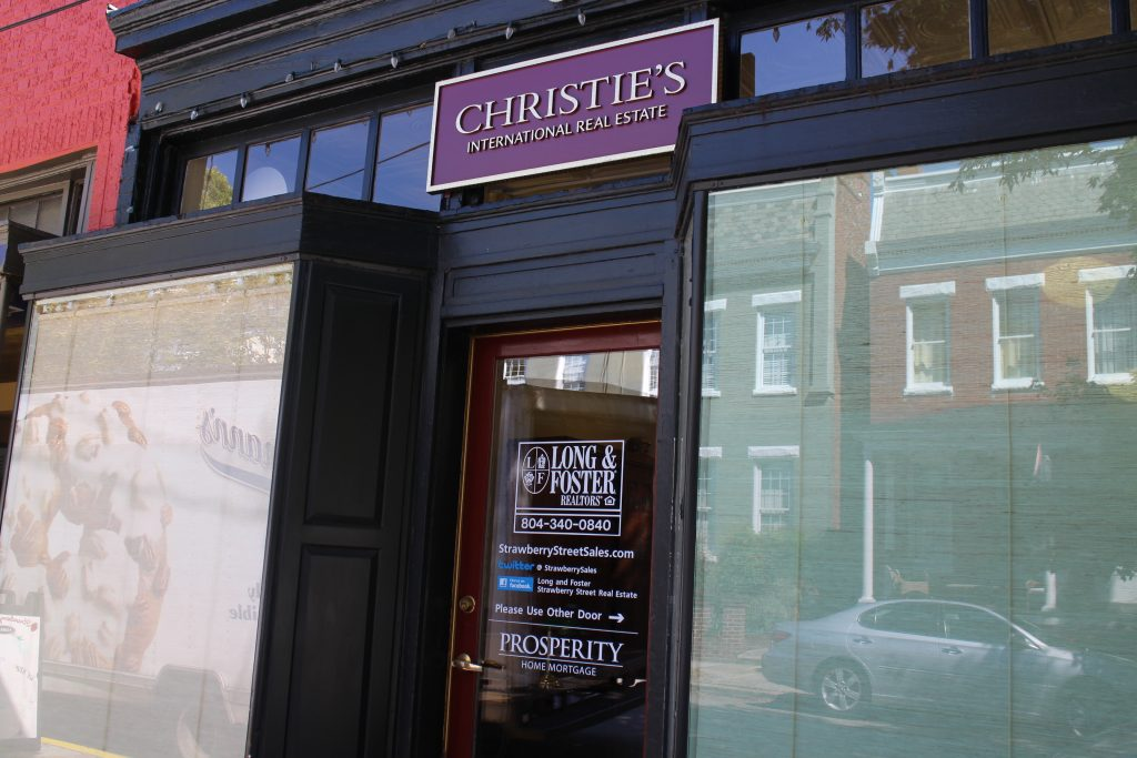 Long & Foster sports the Christie's brand at its Strawberry Street office. Photo by Jonathan Spiers.