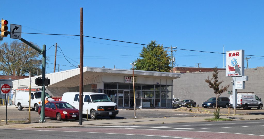 The former Kar World space is being converted into a burger restaurant. Photos by Michael Thompson.