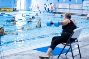 A SwimRVA instructor leads a water aerobics class. Photo courtesy of SwimRVA.