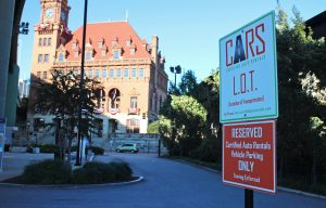 CARs currently has one designated space in the Main Street Station parking lot.