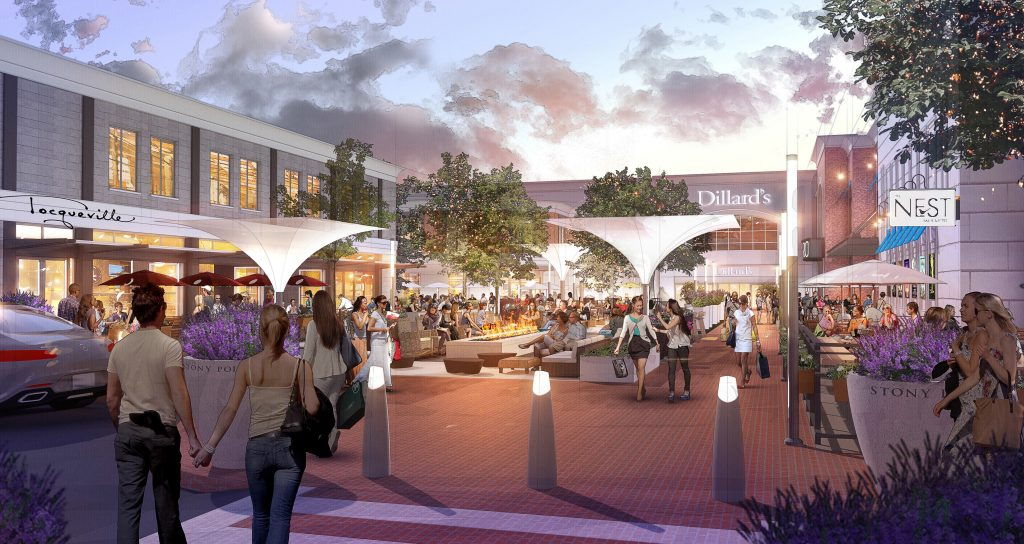 The Stony Point shopping center is upgrading its outdoor spaces. Renderings courtesy of Starwood.