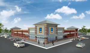 Winterfield Crossing hopes to be anchored by an Aldi grocery store. Image courtesy of Blackwood Development.