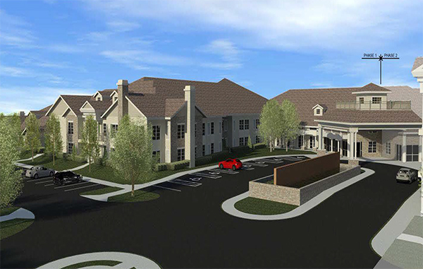The Grove at Lucks Lane will create a large senior living complex with houses nearby. Images courtesy of