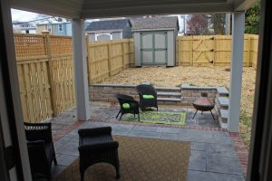 The homes include back yard patios.