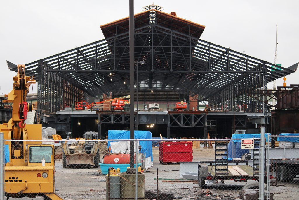 Heavy construction is underway on the exterior of the Main Street Station train shed. Photos by Jonathan Spiers.