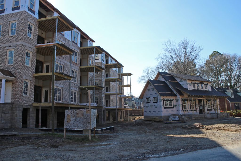 In December, construction was ongoing at the Tiber condo project. (Michael Schwartz)