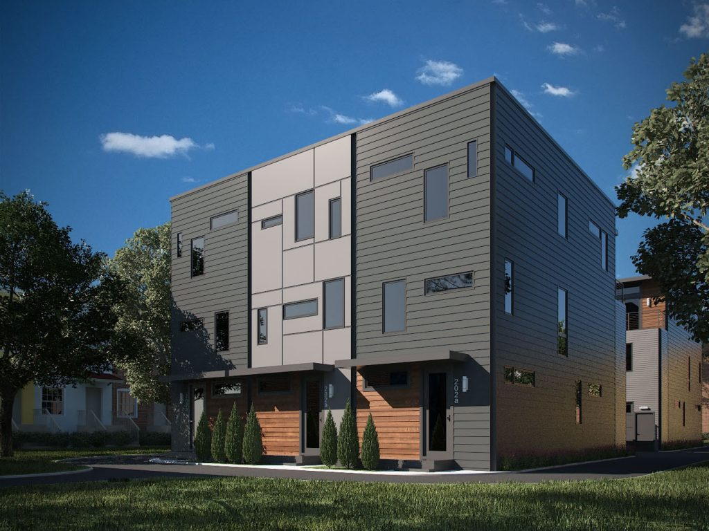 Modern new town houses are set to be built in the Fan. Rendering courtesy of Patrick Sullivan.