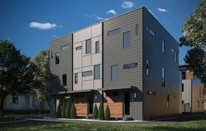 Six modern-design townhomes are planned for the built-out city block. (Rendering courtesy Patrick Sullivan)