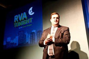 Cribbs emcees the Richmond Ad Club's 2015 awards show.