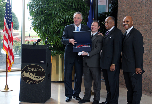 Gov. McAuliffe, Brian Brown, Dwight Jones and Maurice Jones celebrate AvePoint's arrival to Richmond. Photo by Katie Demeria.