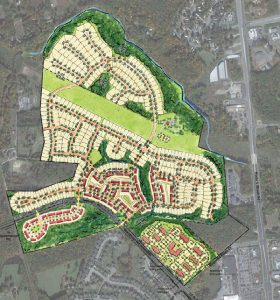 The development would take shape just to the west of Brook Road. Site plan from HHHunt.