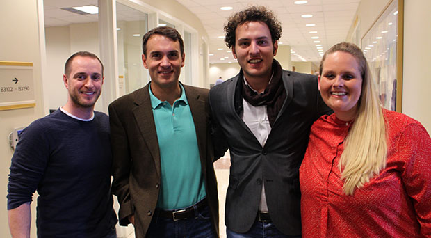 Nikos Kavounis, second from right, is bringing his Greek sparkling wine to the U.S. with help from VCU MBA students Jonathan Stoffer, left, Matt Guise and Kristina Friar. Photos by Jonathan Spiers.