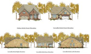 Elevations of golf villas.
