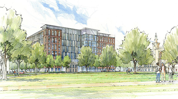 A rendering of the planned 12-story dorm overlooking Monroe Park. Courtesy American Campus Communities.