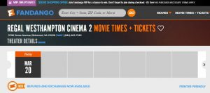 Fandango.com shows no other movie times at Westhampton after March 19.