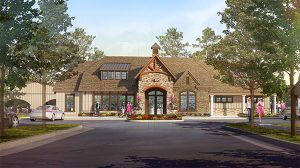 A rendering of Harpers Mill's clubhouse.