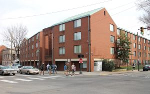 The current four-story dorms will soon make way for the tower.