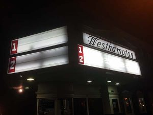 The theater's signs went bare Sunday evening.