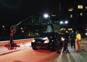 The crew used a rig called the ultimate arm to capture driving shots around the city.