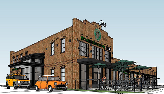 A rendering of the forthcoming Starbucks at GreenGate. Courtesy of Baskervill.