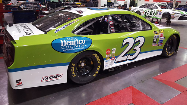 Logos for Henrico County and the Flying Squirrels adorn the No. 23 car. Photo courtesy BK Racing.