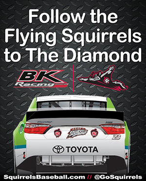 The Flying Squirrels' sponsorship comes with logos on the TV and roof panels of the No. 23 and No. 83 cars. Image courtesy Richmond Flying Squirrels.