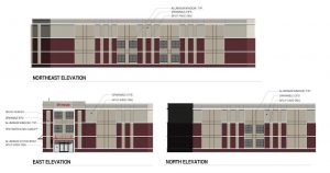 Elevation renderings show the three-story building would feature brick and masonry siding.