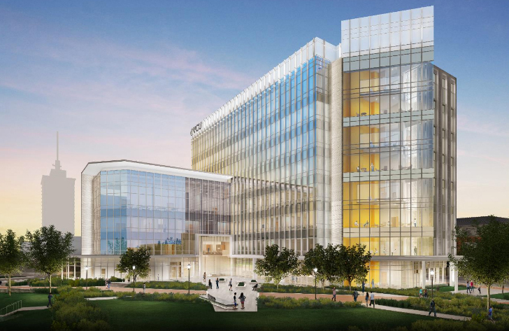 A rendering of the planned Allied Health building.