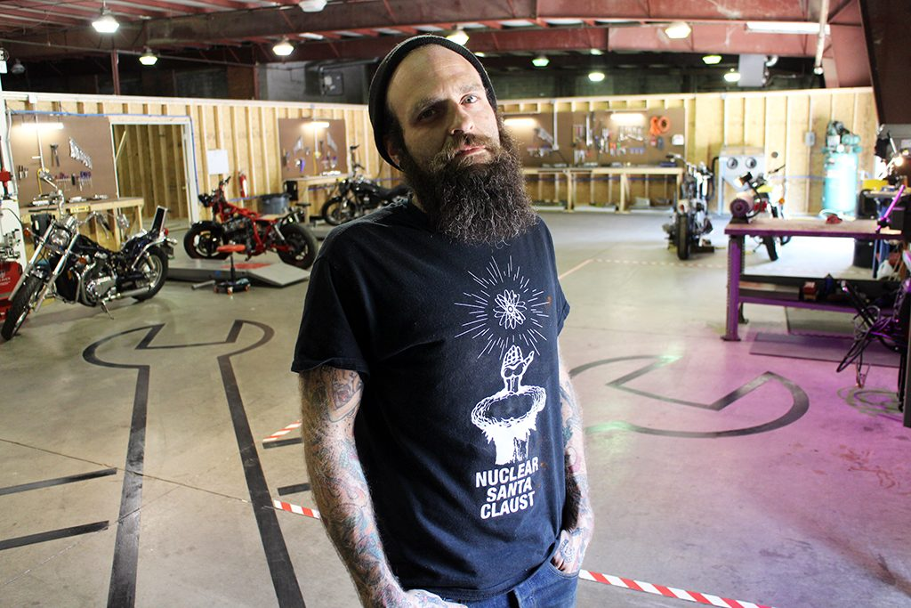 Cory Manning at Engine & Frame's shop. Photos by Jonathan Spiers.