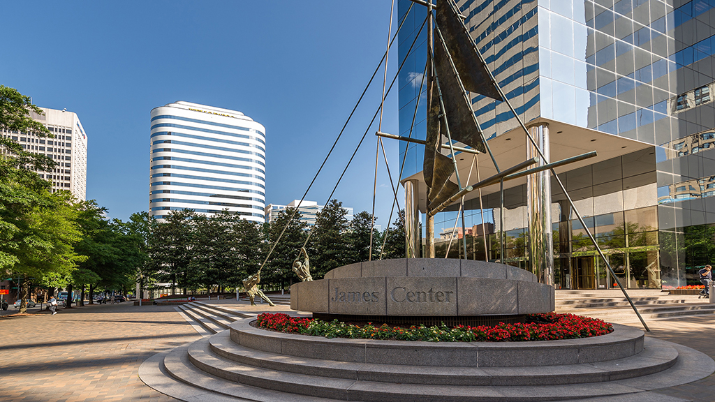 The three-building, 1 million-square-foot James Center at 901, 1021 and 1051 E. Cary St. was sold Thursday.