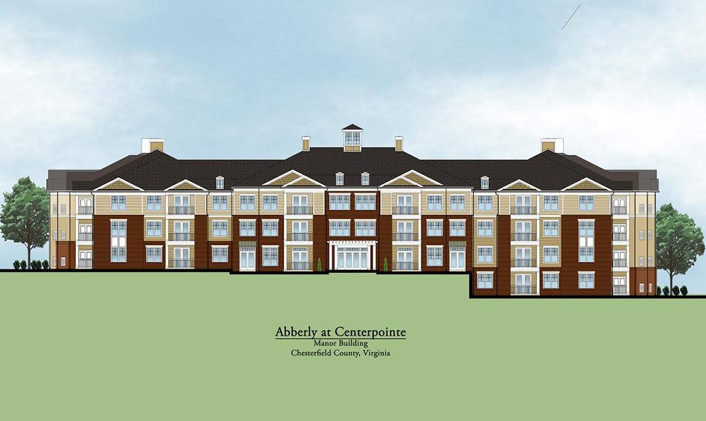 A rendering of one of the upcoming buildings at Abberly at Centerpointe. (Courtesy HHHunt)