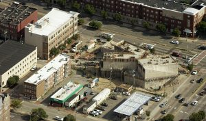 Costar shoots footage from its small research plane, like this photo of construction on the VCU Institute for Contemporary Art.