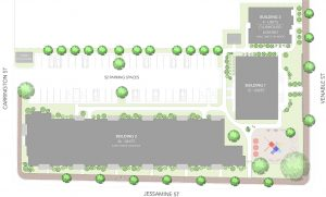 Site plan courtesy of Walter Parks Architects.