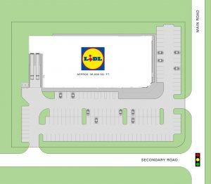 A Lidl prototype site plan requires a minimum of 3.5 acres for 36,000 square feet of store space and 150 parking spots. (Courtesy Lidl US)