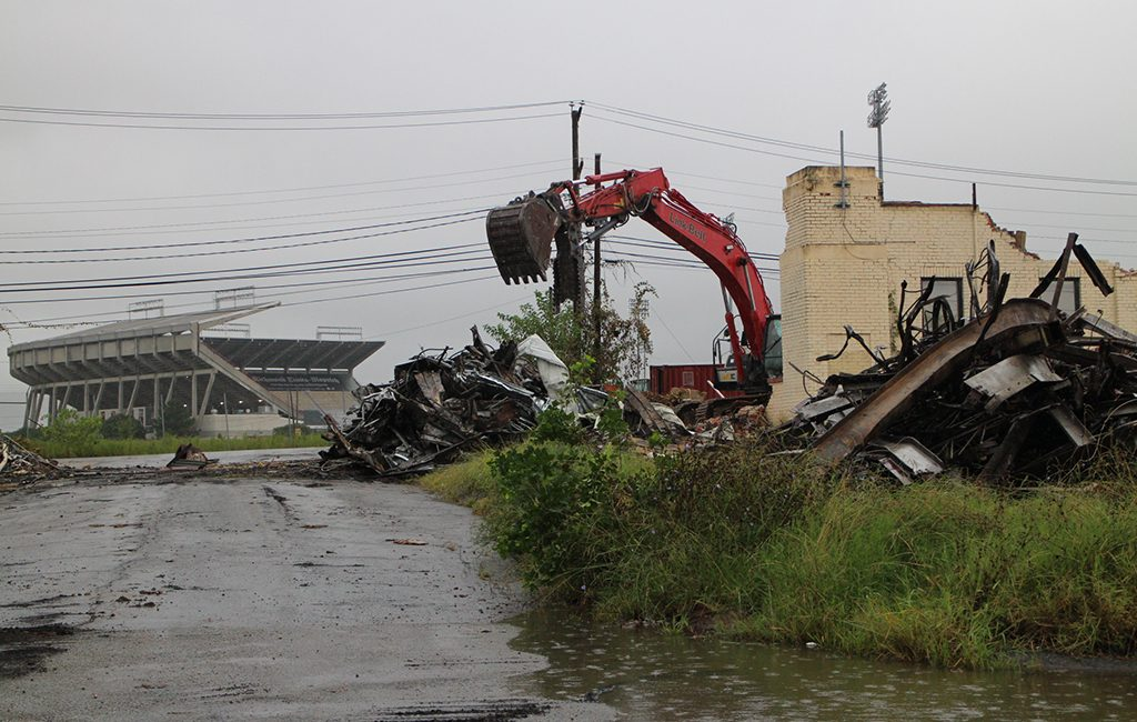 Demolition continued near The Diamond on Monday. (Jonathan Spiers)