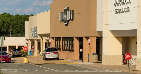 A Food Lion and Marshalls anchor the Merchants Walk shopping center. (Courtesy HFF)</em
